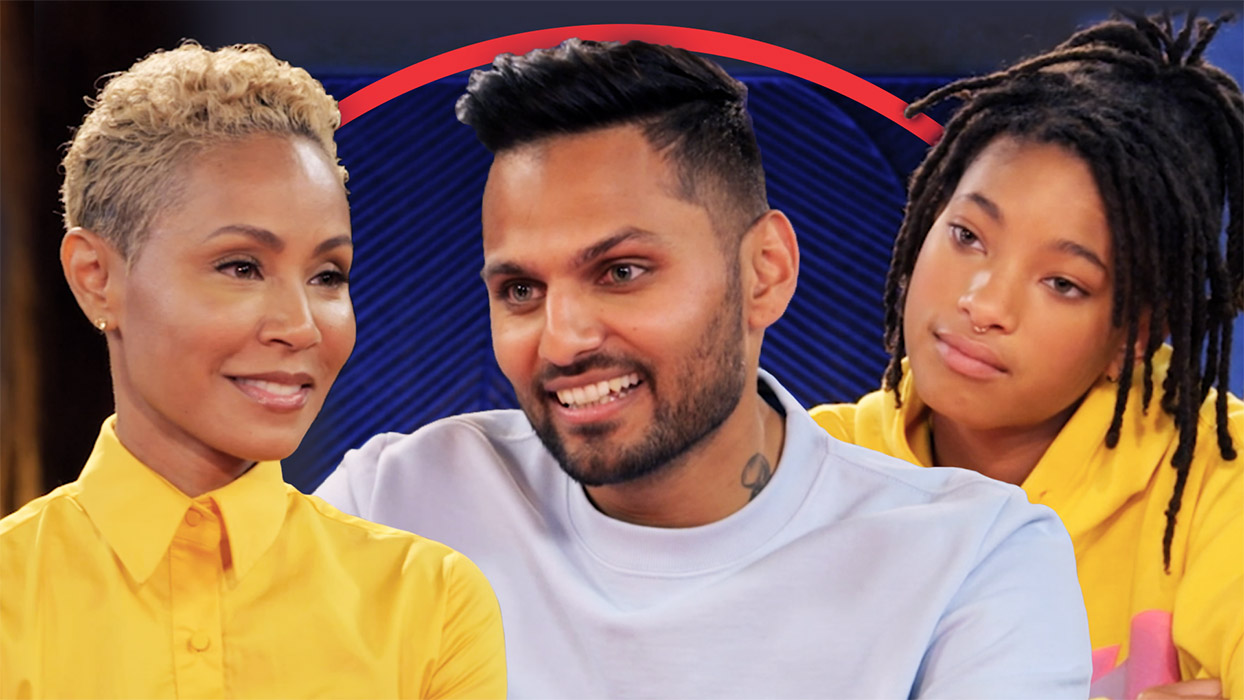 Jada and Willow with former monk-turned internet sensation Jay Shetty